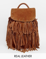 Maison Scotch Leather Tassel Backpack Tan