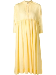 Arts And Science Pleated Flared Dress Yellow And Orange