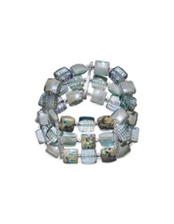 Antica Murrina Veneziana Atelier Byzantium Grey Murano Glass And Silver Leaf Stretch Bracelet Gray