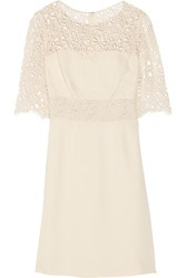Lela Rose Corded Lace Trimmed Silk Dress Ivory