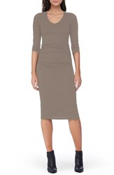 Michael Stars Women's Side Ruched Midi Dress Chai