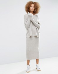 Asos Lounge Midi Skirt In Knit Co Ord Mink Pink