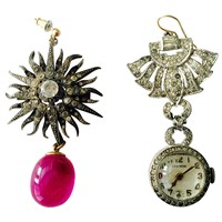 Sormeh Lifestyle Vintage Baccarat And Diamante Pastes Mix And Play Earrings White