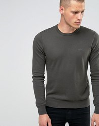 Armani Jeans Jumper With Crew Neck And Logo In Green Olive Green