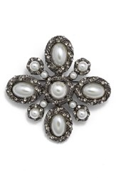 Cara Women's Faux Pearl And Crystal Pin Silver Multi