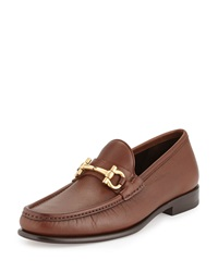 Salvatore Ferragamo Mason Pebbled Gancini Loafer Light Brown