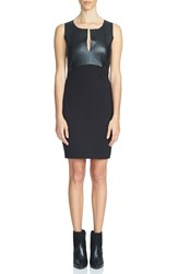 1.State Women's Faux Leather Panel Body Con Dress