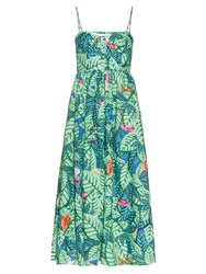 Mara Hoffman Palm Print Linen Midi Dress Green Multi