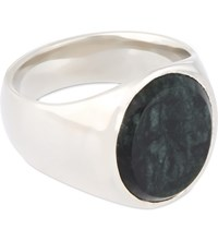 Tom Wood Oval Marble Silver Ring Green Silver