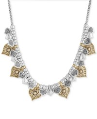 Lucky Brand Two Tone Floral Spade Statement Necklace Two Tone