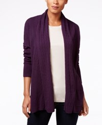 Karen Scott Cable Knit Pocket Cardigan Only At Macy's Victorian Purple