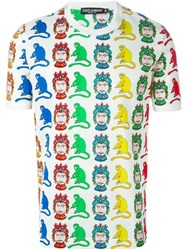 Dolce And Gabbana Knight And Monkey Print T Shirt Multicolour