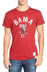Retro Brand 'Alabama' Graphic Crewneck T Shirt Deep Red