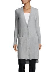 Ply Cashmere Solid Oversized Cardigan Fine Grey Heather