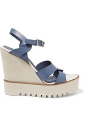 Paloma Barcelo Leather Wedge Sandals Blue