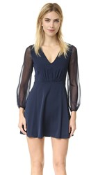 Alice Olivia Cary Deep V Neck Flare Dress Navy