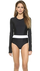 Cover Long Sleeve Swimsuit Black White
