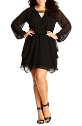 City Chic Embellished Draped Chiffon Tunic Plus Size Black