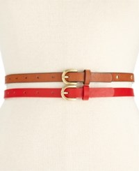 Styleandco. Style And Co. Studded Americana 2 For 1 Skinny Belts Only At Macy's Red Cognac