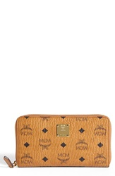 Mcm 'Heritage Large' Coated Canvas Zip Wallet Cognac
