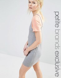 One Day Petite 2 In 1 Contrast T Shirt Dress Gray Marl