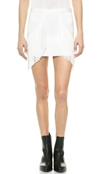 Torn By Ronny Kobo Phyllis Fringe Skirt White