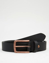 Asos Leather Belt With Rose Gold Buckle Black
