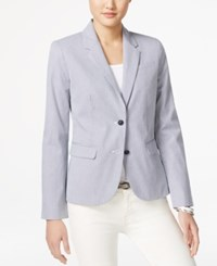 Tommy Hilfiger Striped Two Button Blazer Navy White