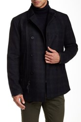 Star Usa By John Varvatos Leather Trimmed Double Breast Peacoat Gray