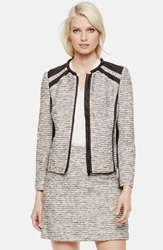 Vince Camuto Faux Leather Trim Tweed Jacket Antiq White