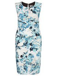 Windsmoor Printed Aqua Dress Multi Coloured