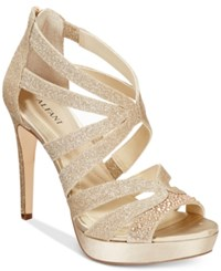 Alfani Women's Cymball Caged Platform Evening Sandals Only At Macy's Women's Shoes Champagne