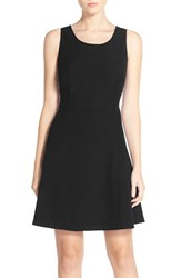 Women's Marc New York Scoop Neck Crepe Fit And Flare Dress Black