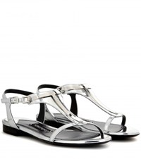 Tom Ford Embellished Metallic Leather Sandals Silver