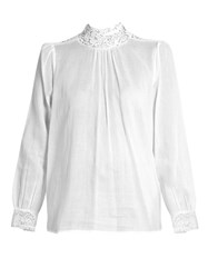 Masscob Draa Lace Trimmed Cotton Gauze Top White