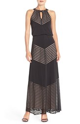 Women's London Times Mesh And Jersey Blouson Maxi Dress