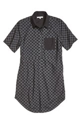 Vans Women's 'Checker' Short Sleeve Shirtdress Black Charcoal