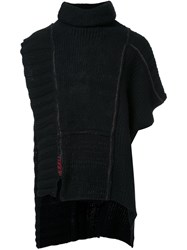 Isabel Benenato Patchwork Knit Cape Black