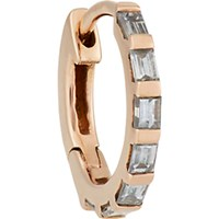 Stone Women's Baguette Diamond And Pink Gold Hoop Earring No Color