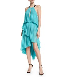 J. Mendel Pleated Silk Halter Neck High Low Dress Light Jade Women's Size 8