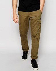 Ringspun Slim Fit Cargo Trousers Green