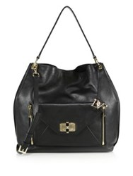 Diane Von Furstenberg 440 Gallery Secret Agent Leather Hobo Bag Mushroom Black