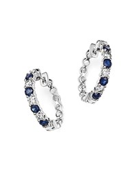 Bloomingdale's Diamond And Sapphire Hoop Earrings In 14K White Gold Blue White