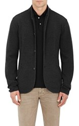 Giorgio Armani Men's Herringbone Pattern Cardigan Dark Grey
