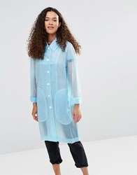 Ymc Blue Sheer Rubber Raincoat Powder Blue