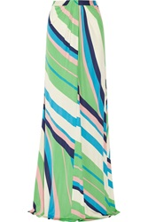 Issa Printed Jersey Maxi Skirt Green