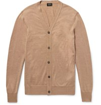 Jil Sander Wool And Silk Blend Cardigan Sand
