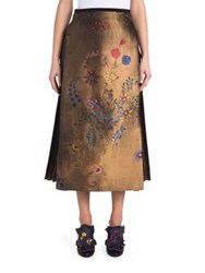 Fendi Side Pleat Jacquard Midi Skirt Botanical Print