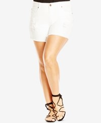 City Chic Plus Size White Wash Ripped Denim Shorts