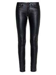 Saint Laurent Low Rise Skinny Faux Leather Trousers